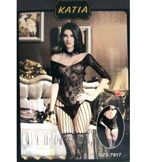 Body Katia con Ricamo a Rete Floreale Nero Unica Taglia