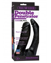 DOUBLE DILDO Natural Black 16cm Double Penetrator Vac-U-Lock